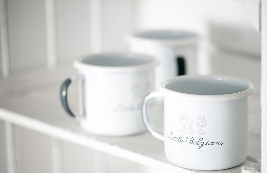 Little Belgians enamel mug white-grey